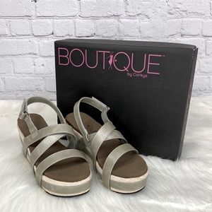 Boutique by Corkys Celine Wedge Sandals Pewter 7